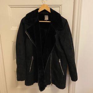 Black Zara fall coat - faux fur